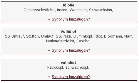 Idiot-Synonyme