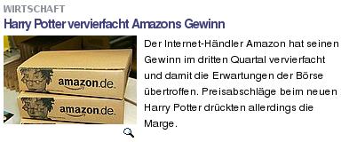 Netzeitung: Harry Potter vervierfacht Amazons Gewinn