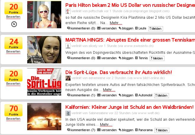 Webnews-Startseite auf Boulevardniveau
