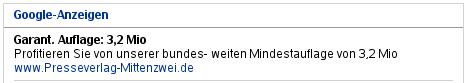 """Google-Anzeige """"Garantierte Auflage"""""""