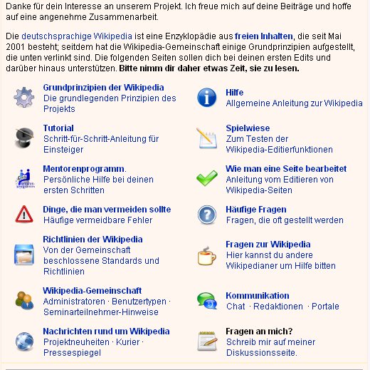 Begruessung in der Wikipedia