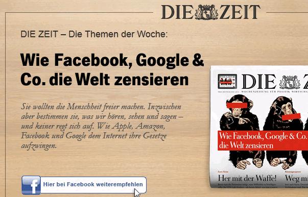 Wie Facebook, Google und Co die Welt zensieren  - Hier bei Facebook weiterempfehlen
