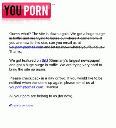 Youporn - Fehlermeldung