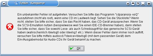 Fehlermeldung KDE
