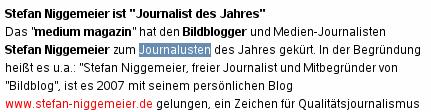 """Stefan Niggemeier ist """"Journalust des Jahres"""""""