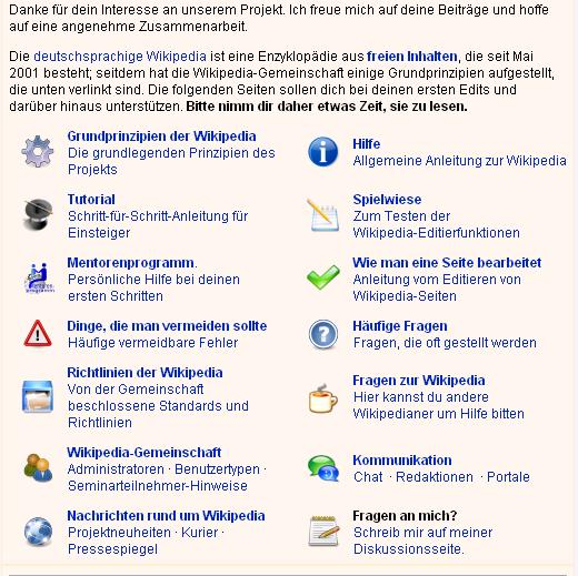 Begruessung in der Wikipedia
