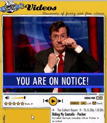 Stephen Colbert in Der Große Diktator-Pose