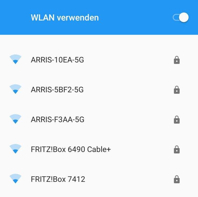 Ein Screenshot einer WLAN-Liste