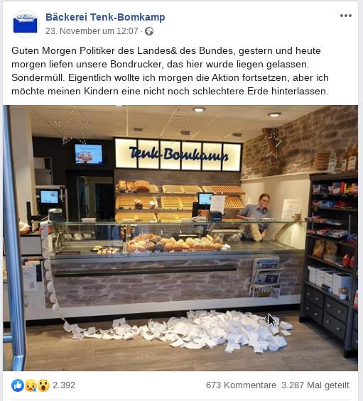 Bäckerei mit Bons auf dem Fußboden