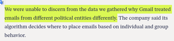 We were unable to discern from the data we gathered why Gmail treated emails from different political entities differently.